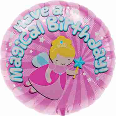 magical birthday foil round 18in/45cm
