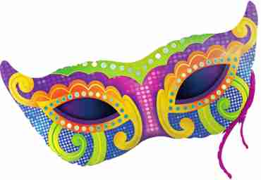 mardi gras mask foil shape 38in/97cm