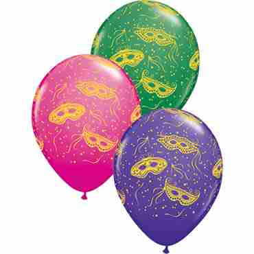 Mardi Gras Masks Standard Green, Fashion Purple Violet and Fashion Wild Berry Assortment Latex Round 11in/27.5cm