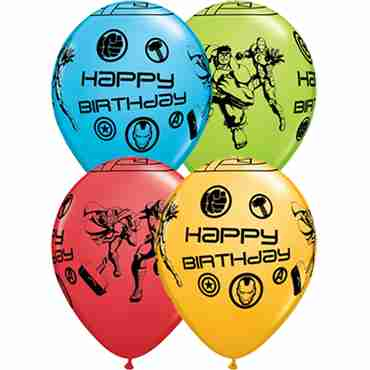 Marvel's Avengers Assemble Birthday Fashion Lime Green, Fashion Goldenrod, Fashion Robins Egg Blue and Standard Red Assortment Latex Round 11in/27.5cm