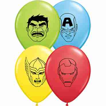 Marvel's Avengers Assemble Standard Red, Standard Yellow, Standard Pale Blue and Fashion Lime Green Assortment Latex Round 5in/12.5cm
