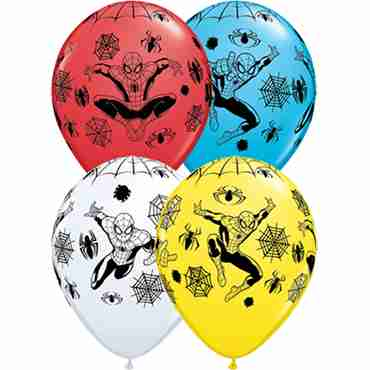Marvel's Ultimate Spider-Man Standard White, Standard Red, Standard Yellow and Fashion Robins Egg Blue Assortment Latex Round 11in/27.5cm