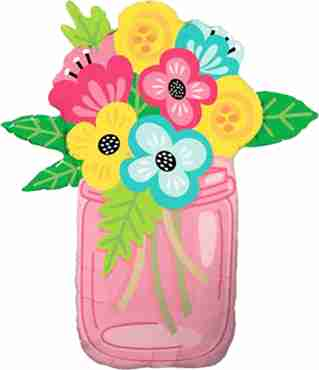 mason jar bouquet foil shape 36in/91cm