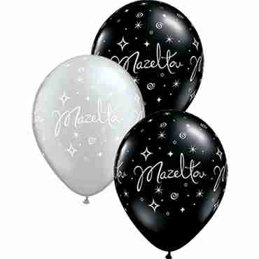Mazel Tov Sparkles and Swirls Fashion Onyx Black and Metallic Silver Assortment Latex Round 11in/27.5cm