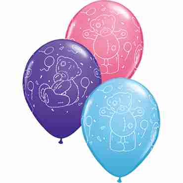 Me To You - Tatty Teddy Balloons Standard Pale Blue, Fashion Purple Violet and Fashion Rose Assortment Latex Round 11in/27.5cm