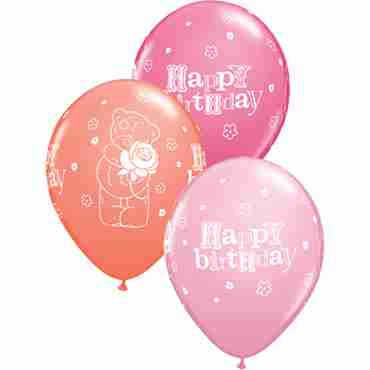 me to you - tatty teddy birthday rose standard pink, fashion coral and fashion rose assortment latex round 11in/27.5cm