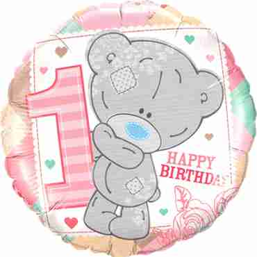 me to you - tiny tatty 1st birthday girl foil round 18in/45cm