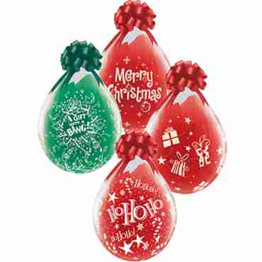 Merry Christmas Assortment Crystal Diamond Clear (Transparent) Latex Round 18in/45cm
