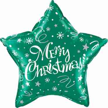 Merry Christmas! Festive Green Foil Star 20in/50cm