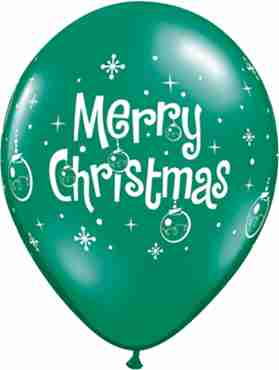 Merry Christmas Ornaments Crystal Emerald Green (Transparent) Latex Round 11in/27.5cm