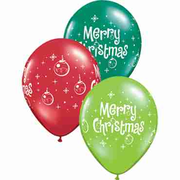 Merry Christmas Ornaments Crystal Jewel Lime (Transparent), Crystal Emerald Green (Transparent) and Crystal Ruby Red (Transparent) Assortment Latex Round 11in/27.5cm