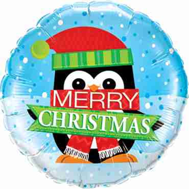 Merry Christmas Penguin Foil Round 18in/45cm