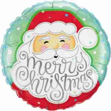 Merry Christmas Santa Foil Round 18in/45cm