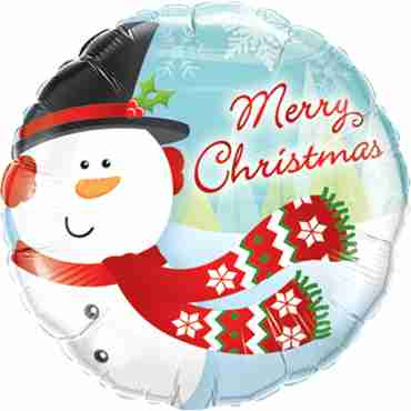 Merry Christmas Snowman Foil Round 18in/45cm