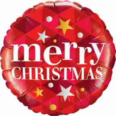 Merry Christmas Stars Red Foil Round 18in/45cm