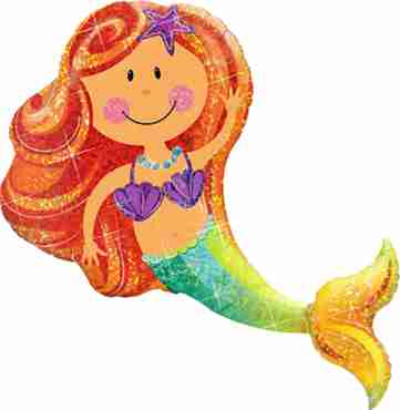 Merry Mermaid Holographic Foil Shape 38in/97cm