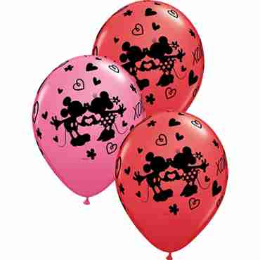 mickey & minnie xoxo standard red and fashion rose assortment latex round 11in/27.5cm