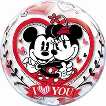 Mickey and Minnie I Love You Single Bubble 22in/55cm