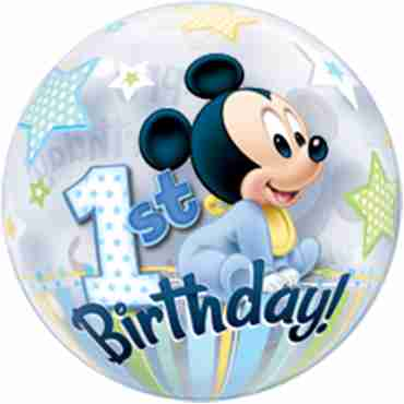 Mickey Mouse 1st Birthday Single Bubble 22in/55cm