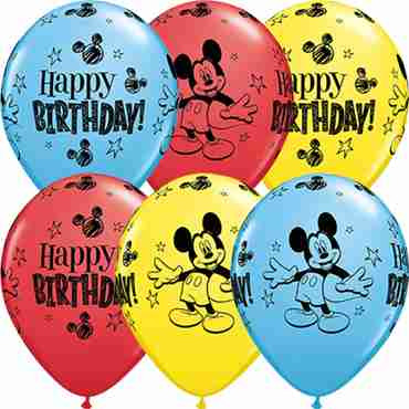 Mickey Mouse Birthday Standard Yellow, Standard Red and Standard Pale Blue Assortment Latex Round 11in/27.5cm