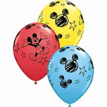 Mickey Standard Yellow, Standard Red and Standard Pale Blue Assortment Latex Round 11in/27.5cm