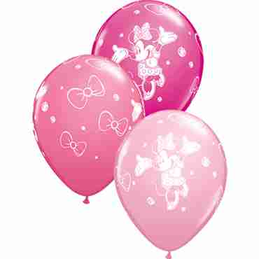 minnie fashion wild berry, fashion rose and standard pink assortment latex round 11in/27.5cm