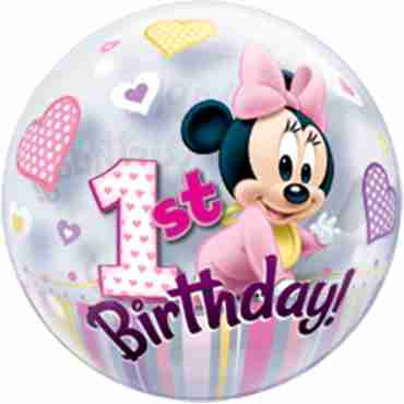 Minnie Mouse 1st Birthday Single Bubble 22in/55cm