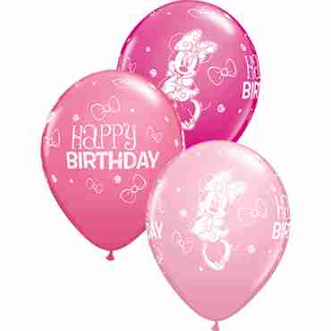 minnie mouse birthday fashion wild berry, fashion rose and standard pink assortment latex round 11in/27.5cm