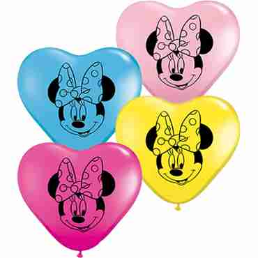 minnie mouse face fashion wild berry, standard yellow, standard pale blue and standard pink assortment latex heart 6in/15cm