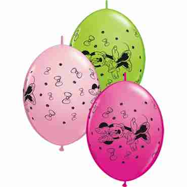 minnie mouse standard pink, fashion wild berry and fashion lime green assortment quicklink 12in/30cm