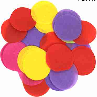 Mixed Colours Paper Round Confetti (Flame Retardant) 15mm 14g