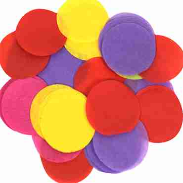 Mixed Colours Paper Round Confetti (Flame Retardant) 25mm 100g
