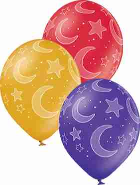 Moon and Stars Metallic Gold, Metallic Purple and Metallic Cherry Red Latex Round 12in/30cm