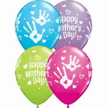 Mothers Day Handprints Fashion Robins Egg Blue, Fashion Spring Lilac, Fashion Wild Berry and Fashion Lime Green Assortment Latex Round 11in/27.5cm