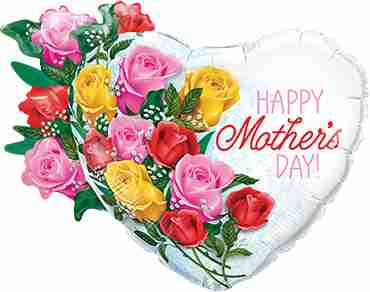 Mothers Day Rose Bouquet Foil Shape 35in/89cm