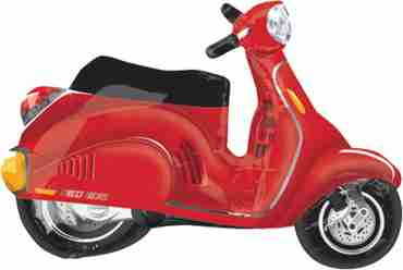 Motor Scooter - Red Vendor Foil Shape 24in/60cm x 24in/60cm