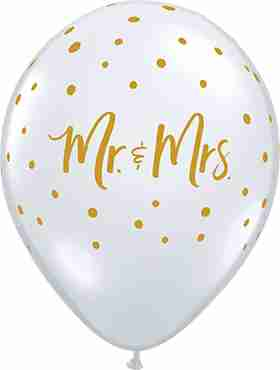 Mr & Mrs Dots Crystal Diamond Clear (Transparent) Latex Round 11in/27.5cm