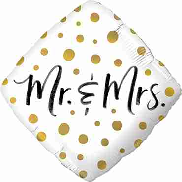 Mr & Mrs Gold Dots Foil Diamond 18in/45cm