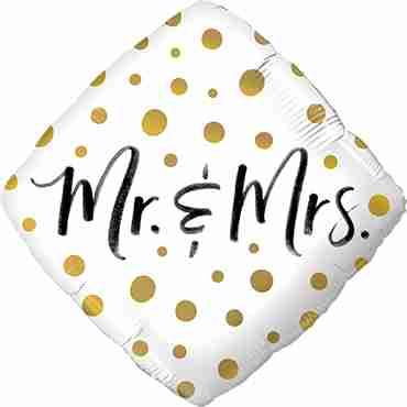 Mr & Mrs Gold Dots Foil Diamond 18in/45cm