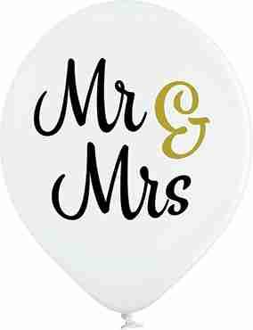 Mr & Mrs Pastel White Latex Round 12in/30cm