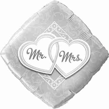 Mr and Mrs Entwined Hearts Foil Diamond 18in/45cm