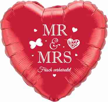 mr and mrs frisch verheiratet ruby red w/white ink foil heart 18in/45cm