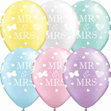 Mr and Mrs Pearl Mint Green, Pearl Lavender, Pearl Pink, Pearl Light Blue, Pearl White and Pearl Lemon Chiffon Assortment Latex Round 16in/40cm