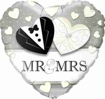 Mr and Mrs Wedding Foil Heart 18in/45cm