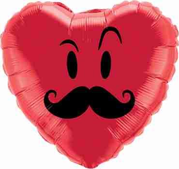 mr mustache foil heart 18in/45cm