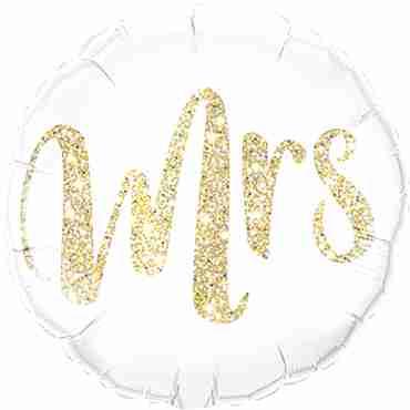 Mrs Glitter Gold Foil Round 18in/45cm