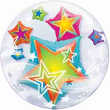 Multicoloured Stars Double Bubble 24in/60cm