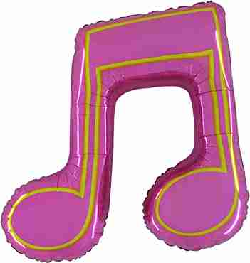 Music Note Double Holographic Pink Foil Shape 40in/86cm