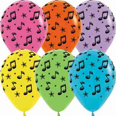 Music Notes Fashion White, Fashion Fuchsia, Fashion Yellow, Fashion Lime Green, Fashion Caribbean Blue, Fashion Lilac and Fashion Orange Assortment Latex Round 11in/27.5cm
