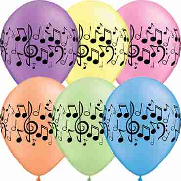 Music Notes Neon Assortment Latex Round 11in/27.5cm